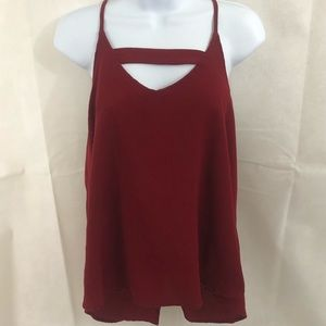 Red Keyhole Zip Up Back Top